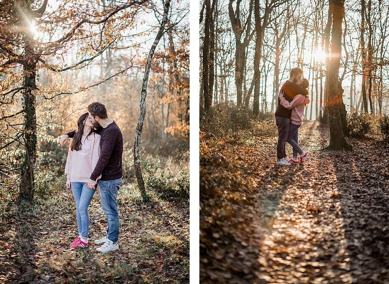Portrait de couple sous les rayons du soleil - Photographe mariage portrait Toulouse