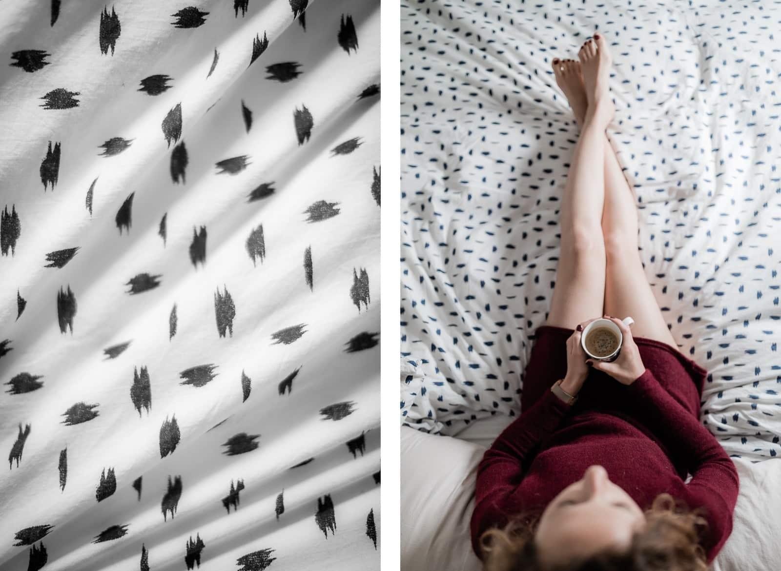 Portrait de femme sur un lit